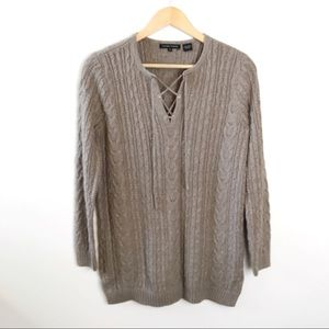 Jeanne Pierre • Cozy Cable Knit Lace Up Sweater